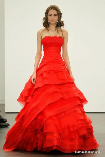 Would you wear a red wedding gown spotted at vera wang for Vera wang princess ball gown wedding dress