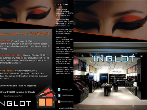 Get Freebies and Discounts at Inglot's Halloween Event Oct. 28-30