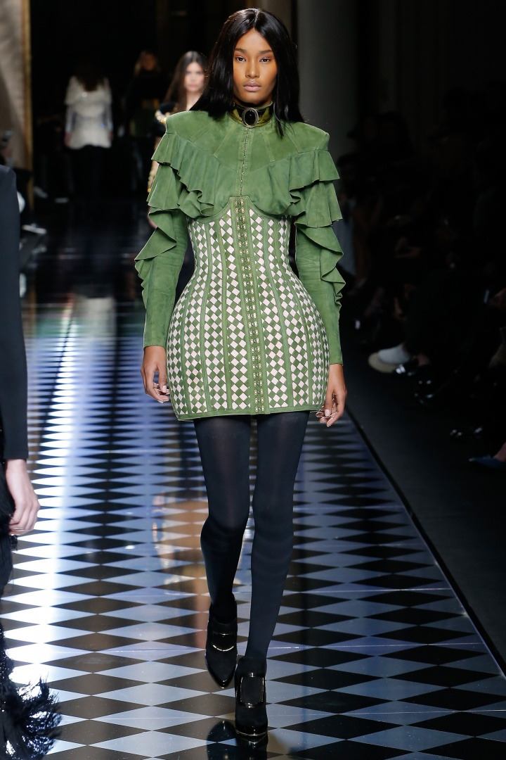 Balmain-Fall-2016-Padded-Skirt-Ruffled-Sleeves-Fashion-Glamazonsblog