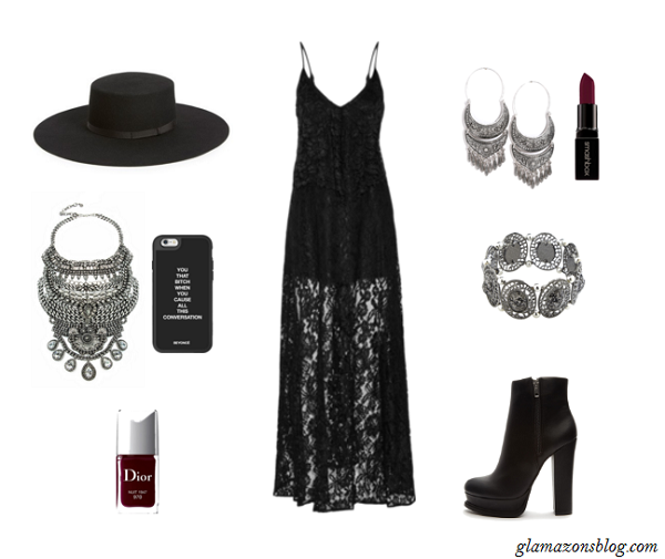 Black-Lace-Dress-Ankle-Boots-Wide-Brimmed-Hat-Formation-Video-Tour-Outfit-Glamazonsblog