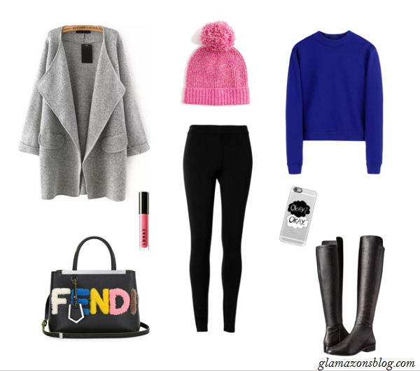 Black-Leggings-Blue-Crewneck-Sweatshirt-Oversized-Coat-Statement-Handbag-Thanksgiving-Outfit-Ideas-Glamazonsblog