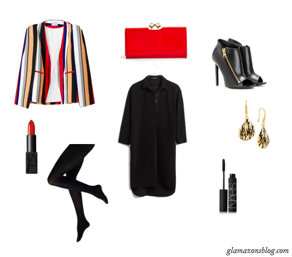 Black-Shirt-Dress-Striped-Blazer-Cape-Red-Clutch-Black-Booties-Thanksgiving-Outfit-Ideas-Glamazonsblog