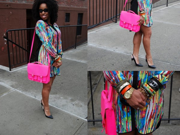 What I Wore: Prabal Gurung for Target Shirt Dress, H&M Neon Satchel and Christian Louboutin Black Pumps