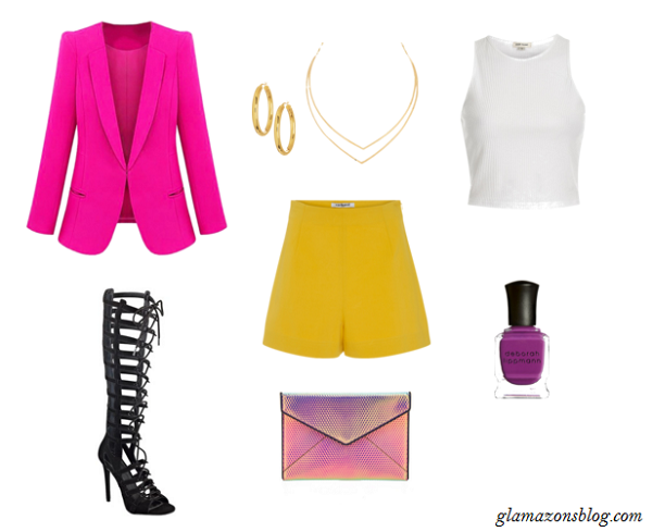 Colorblock-Blazer-High-Waisted-Shorts-Metallic-Clutch-Formation-Tour-Outfit-Glamazonsblog