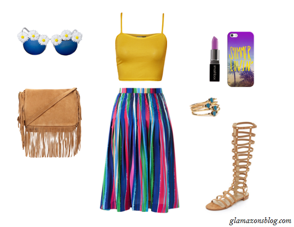 Colorful-Midi-Skirt-Yellow-Tank-Top-Festival-Fashion-Glamazonsblog