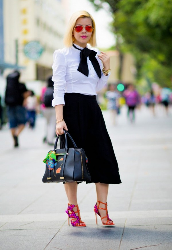 Crystal-Phuong-Black-Culottes-White-Button-Down-Bright-Heels-Fashion-Trend-Glamazonsblog