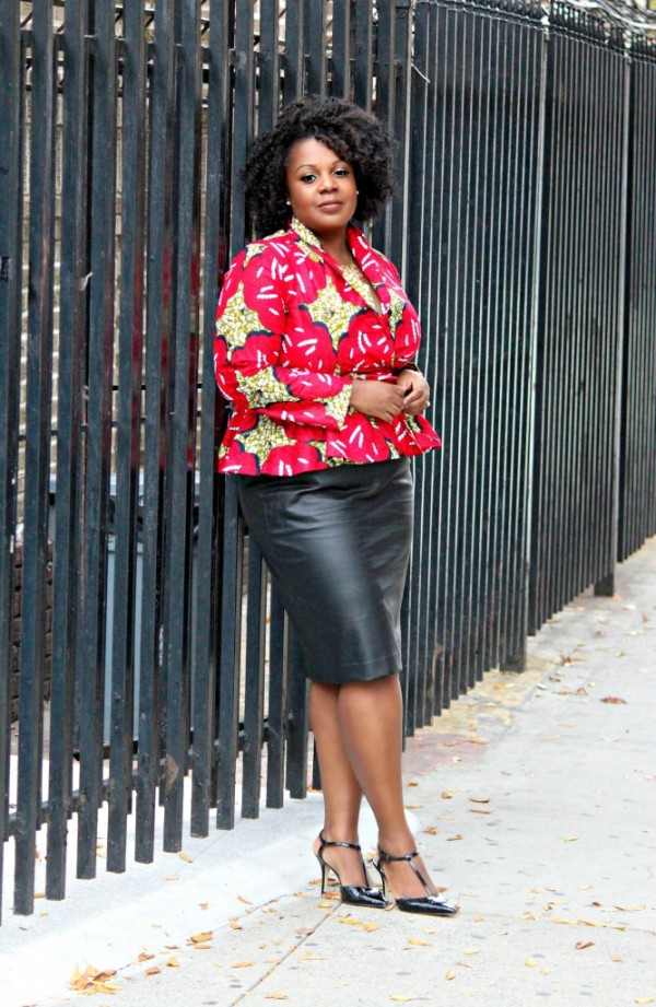 Curve-Envy-Ankara-Print-Blazer-Black-Leather-Skirt-Fashion-Glamazonsblog