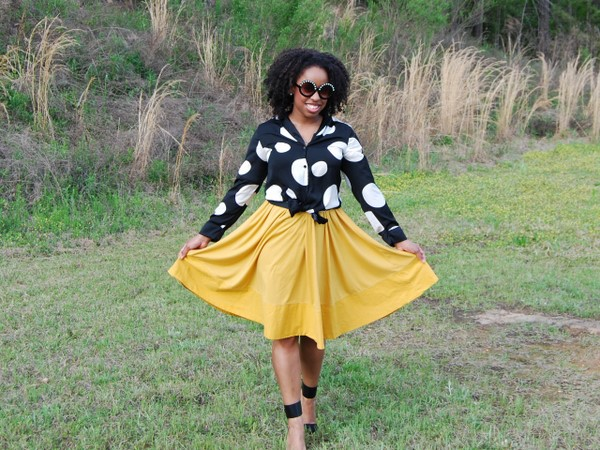 What I Wore: ASOS Round Sunglasses with Pearl Highbrow, H&M Polka Dot Blouse, Yellow Skirt and Zara High Heel Vamp Shoes