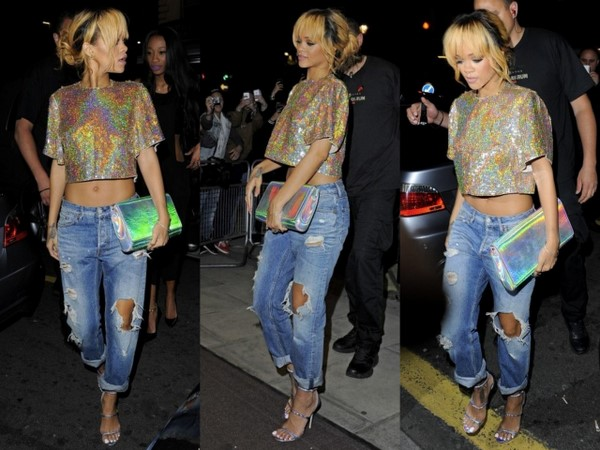 Steal Her Look: Rihanna's Boujis Nightclub Hologram Croptop, Distressed Jeans, Stella McCartney Iridescent Clutch and Sandals