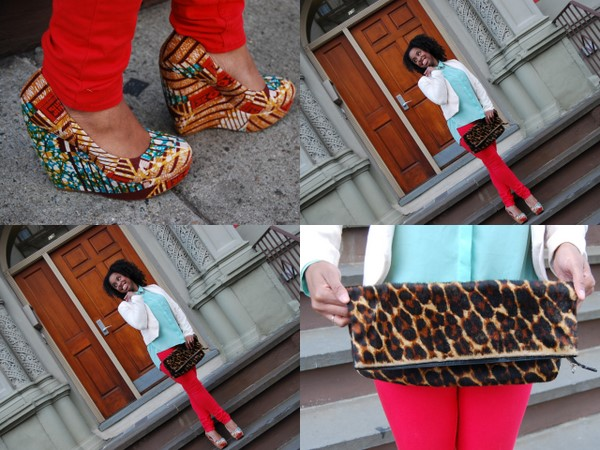 What I Wore: Forever 21 Teal Blouse and White Blazer, H&M Red Jeans, Aldo Printed Wedges