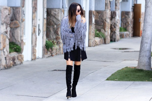 Fashion-Lush-Fringe-Shag-Sweater-Black-Dress-Over-The-Knee-Boots-Fashion-Glamazonsblog