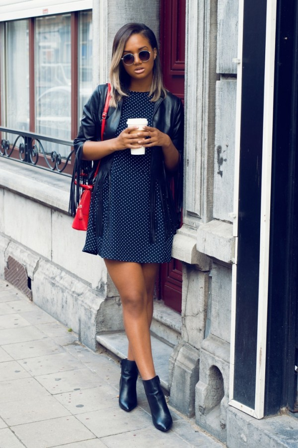 Frunettte-Polka-Dot-Dress-Leather-Fringe-Jacket-Black-Ankle-Boots-Fashion-Glamazonsblog