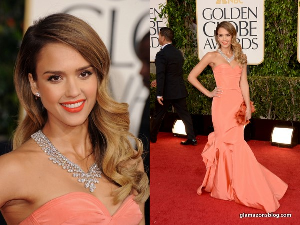 GET THE LOOK: Jessica Alba's Sunkissed Skin & Bold Orange Lip at the 2013 Golden Globes!