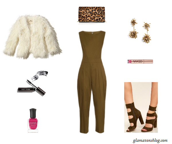 jumpsuit-shaggy-fur-jacket-block-heels-thanksgiving-outfit-idea-glamazonsblog