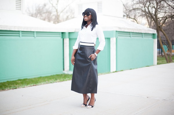 Just-Missed-the-Runway-Black-Leather-Skirt-White-Button-Up-Circle-Shades-Glamazonsblog