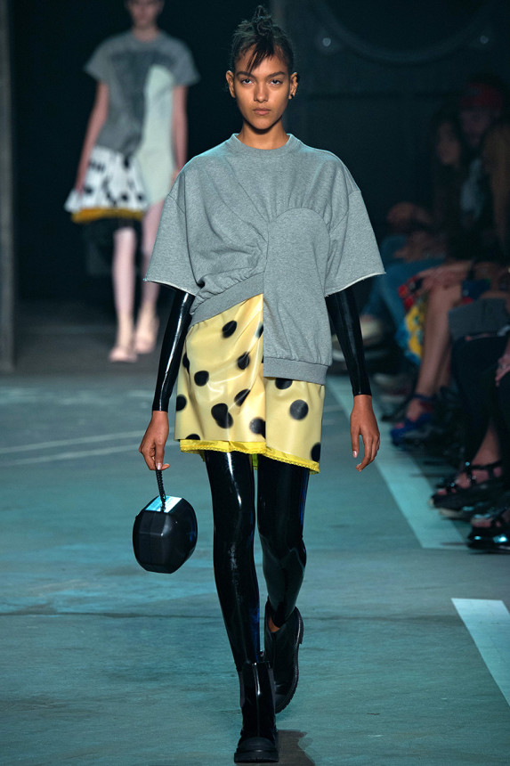Marc-by-Marc-Jacobs-Spring-2015-NYFW-Asymmetrical-Sweater-Polka-Dot-Dress-Latex-Bodysuit-Plastic-Boots-Glamazonsblog
