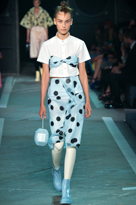 Marc-by-Marc-Jacobs-Spring-2015-NYFW-Latex-Leggings-Polka-Dot-Plastic-Skirt-and-Bandeau-Glamazonsblog