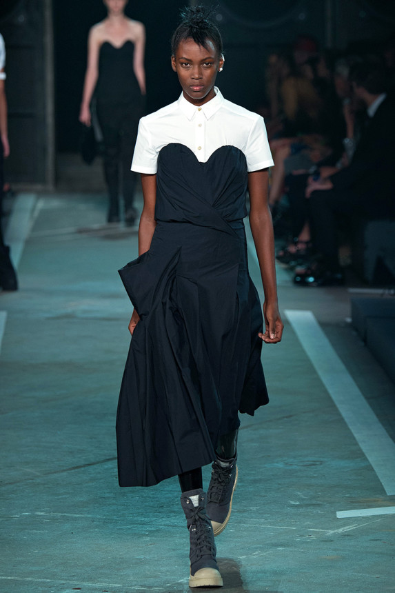 Marc-by-Marc-Jacobs-Spring-2015-NYFW-Strapless-Princess-Cut-Asymmetrical-Dress-Layered-Menswear-Top-Glamazonsblog