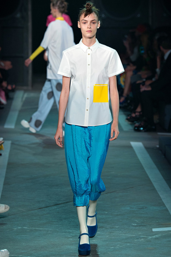 Marc-by-Marc-Jacobs-Spring-2015-NYFW-White-Button-Up-Patchwork-Harem-Pants-Glamazonsblog