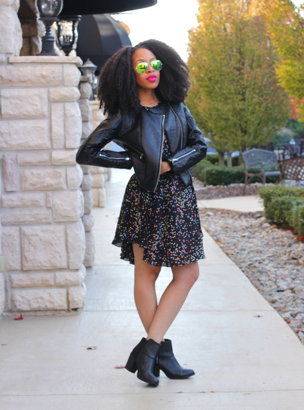 Mattieologie-Confetti-Print-Dress-Leather-Jacket-Mirror-Shades-Black-Block-Heel-Boots-Fashion-Glamazonsblog