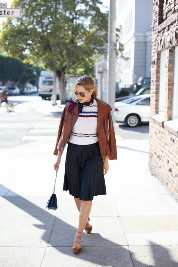 Memorandum-Pleated-Skirt-Striped-Sweater-Leather-Jacket-Glamazonsblog