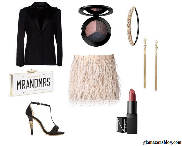 Outfit-Inspiration-New-Years-Eve-Feathered-Mini-Skirt-Fitted-Blazer-What-to-Wear-Fashion-Glamazonsblog