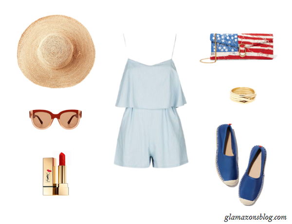 Pastel-Romper-Espadrilles-Straw-Hat-American-Flag-Clutch-Fourth-of-July-Fashion-Glamazonsblog