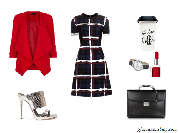Red-Blazer-Grid-Print-Dress-Metallic-Mules-Office-Outfit-Ideas-Spring-Glamazonsblog