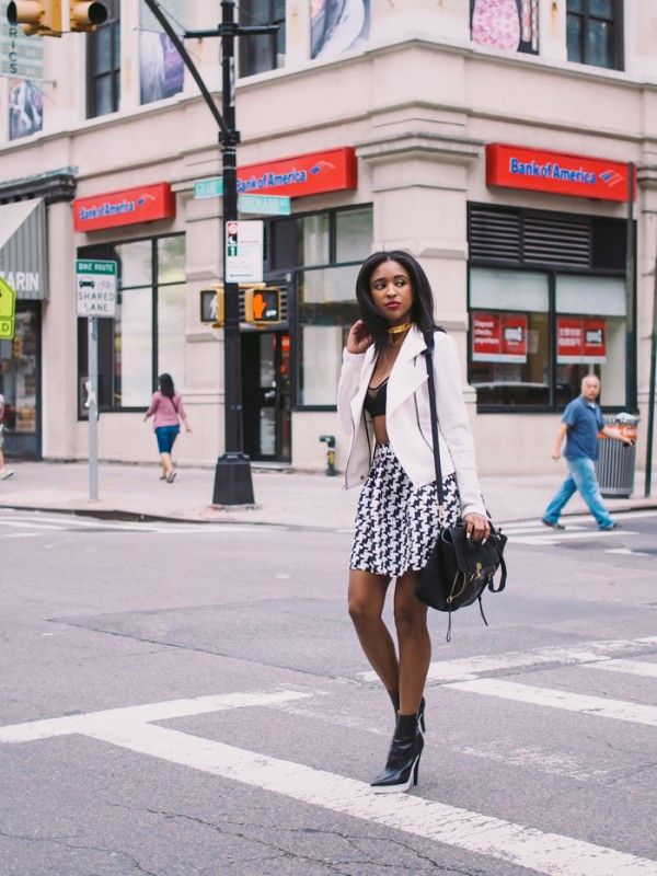 Ria-Michelle-Houndstooth-Skirt-White-Blazer-Black-Bralet-Leather-Boots-Fashion-Glamazonsblog