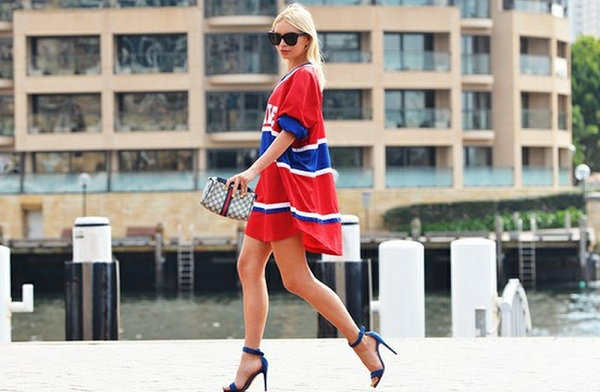 Shirt-Dress-Red-White-and-Blue-Strappy-Heels-Black-Sunglasses-Spring-Trend-Glamazonsblog