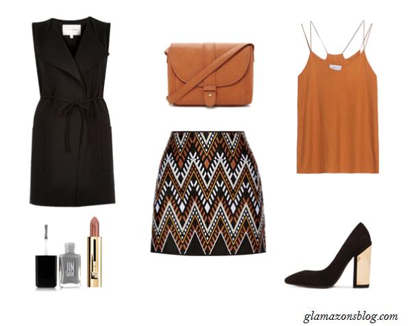 Sleeveless-Vest-Print-Mini-Skirt-Block-Heels-Office-Outfit-Ideas-Spring-Glamazonsblog