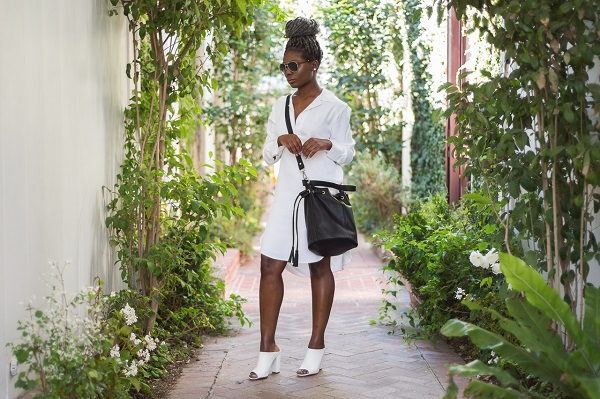 Specs-and-Blazers-White-Hi-Low-Dress-White-Mules-Black-Bucket-Bag-Glamazonsblog