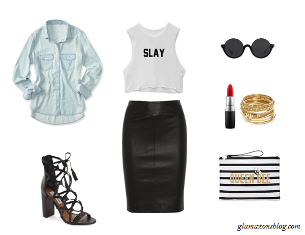 Statement-Crop-Top-Leather-Skirt-Chambray-Shirt-Beyonce-Formation-Tour-Outfit-Glamazonsblog