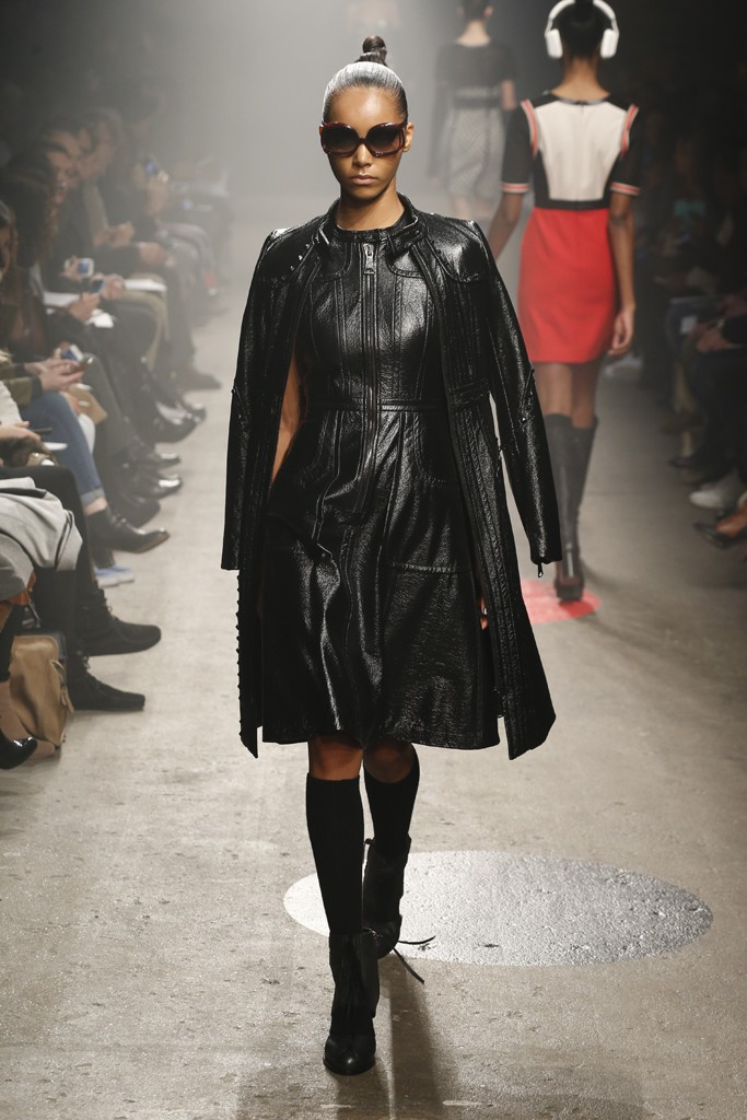 Tracy-Reese-Fall-2015-Collection-Embroidered-Leather-Coat-Leather-Dress-Cinched-Waist-Fur-Accent-Boots-NYFW-Glamazonsblog