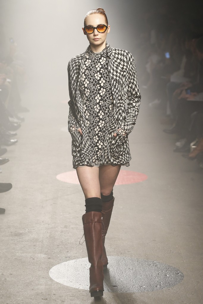 Tracy-Reese-Fall-2015-Collection-Floral-Lace-Dress-Houndstooth-Print-Jacket-Leather-Knee-High-Platform-Boots-NYFW-Glamazonsblog