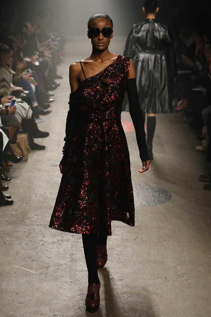 Tracy-Reese-Fall-2015-Collection-One-Shoulder-Sparkling-Dress-Sheer-Overlay-Arm-Warmers-Platforms-NYFW-Glamazonsblog
