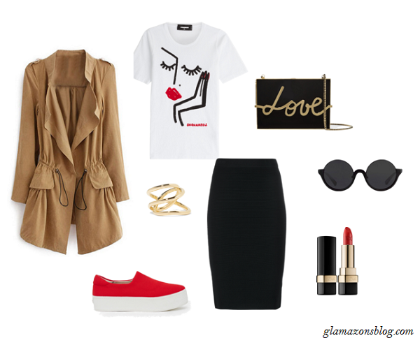 Trench-Coat-Graphic-Tee-Pencil-Skirt-Slip-On-Sneakers-Spring-Fashion-Glamazonsblog