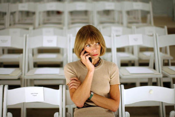 Vogue editor Anna Wintour speaks on a cell phone before the J. Mendel Spring 2008 collection during New York Fashion Week