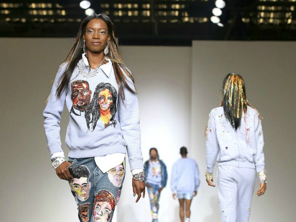 #LFW: Ashish Sent a Kimye and Miley Cyrus Sweater Down The Runway on All Black Models