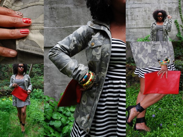 What I Wore: ASOS Camouflage Jacket and Striped Dress, Zara High Heel Vamp Shoes