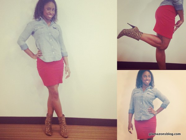 What I Wore: Forever 21 Chambray Shirt, American Apparel Red Skirt and Charles by Charles David Leopard Boots