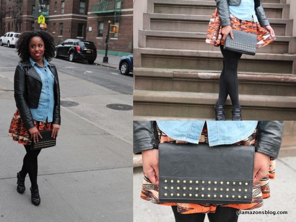 What I Wore: H&M Chambray Shirt, Leather Jacket, Studded Clutch and African Print Skirt