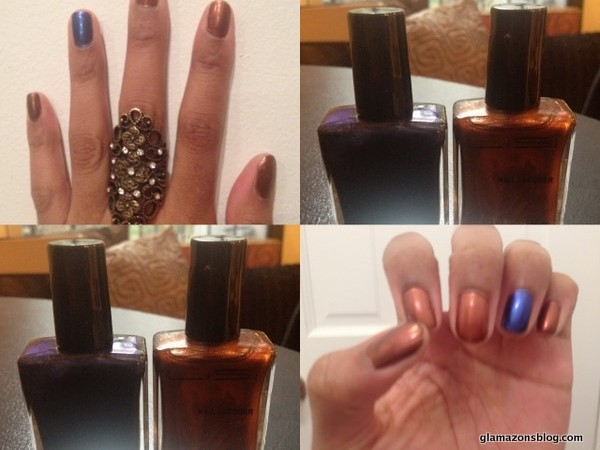 My Glamazing New Year's Eve Mani: Lisi Cosmetics Love Brown Sugar and She Wore Blue Velvet Nail Polish