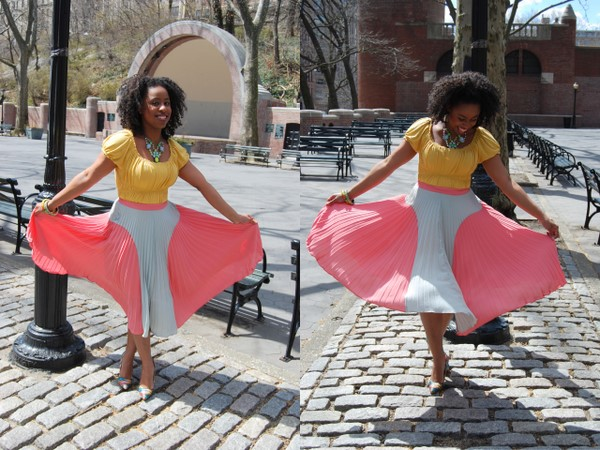 What I Wore: ASOS Glamorous Pleated Skirt in Mint/Peach, Daffodil Top, Prabal Gurung for Target Printed Pumps