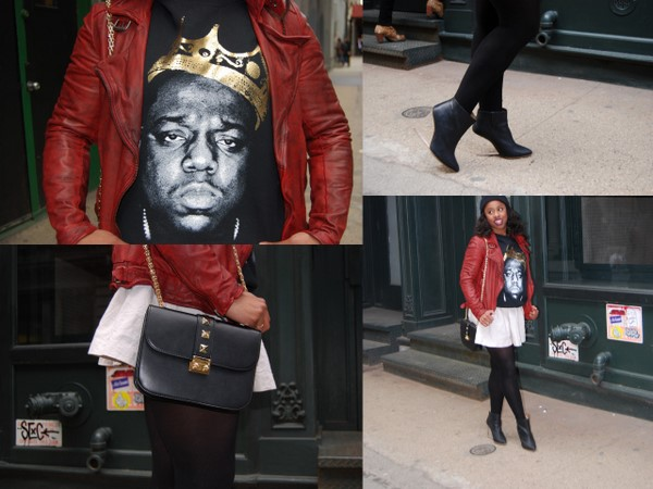 What I Wore: Urban Outfitters 'Biggie King of NYC' Sweatshirt, ASOS Red Leather Jacket and Maison Martin Margiela for H&M Mirror Wedges