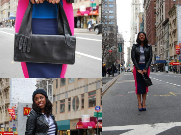 What I Wore: ASOS Colorblock Pencil Skirt, Forever 21 Striped Top and Aldo Cobalt Suede Pumps