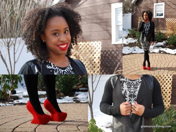 What I Wore: DKNY Leather and Wool Sweater from TJ Maxx, H&M Print Dress and Aldo Red Platforms