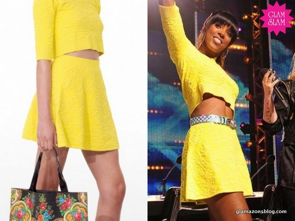 "GLAM SLAM: Kelly Rowland's ""X-Factor"" Charleston Auditions Shakuhachi Yellow Skirt Set and Azzedine Alaia Sandals"