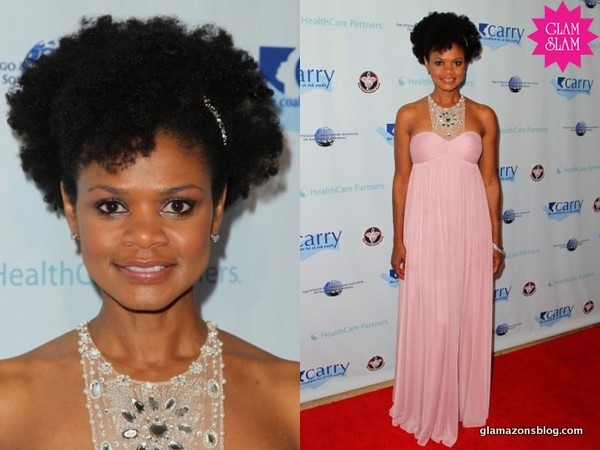 "GLAM SLAM: Kimberly Elise's Embellished Pink Gown and Curly 'Fro at CARRY Foundation's 7th Annual ""Shall We Dance Gala"""