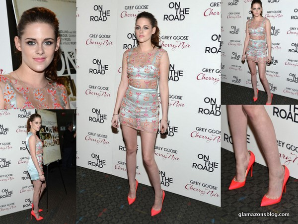 GLAM OR SHAM?: Kristen Stewart's 'On The Road' New York Premiere Erdem Spring 2013 Sheer Dress and Christian Louboutin Neon Pumps